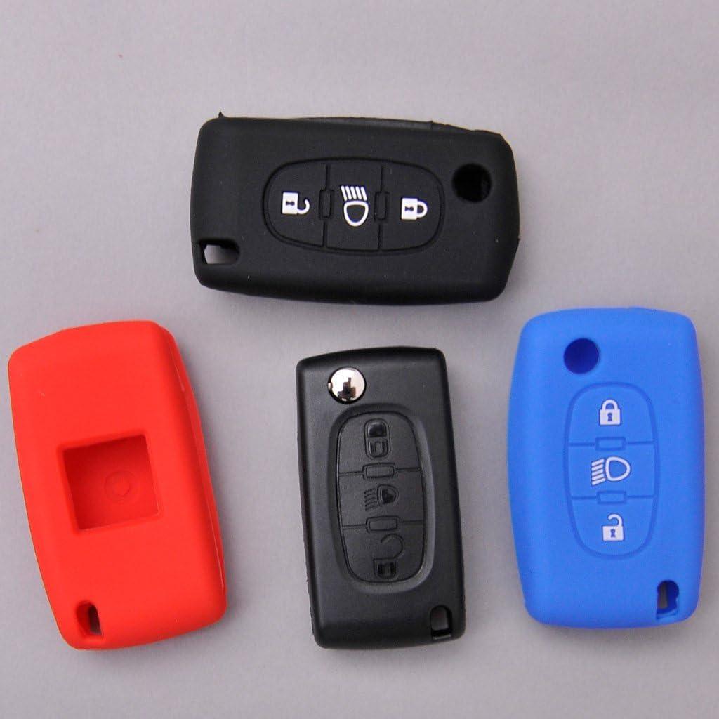 Soft Case Funda Protectora para Llave de Coche para Citroen C4 Picasso C5 C8 Despacho Jumpy Key Shell Llave Plegable//Color Rojo