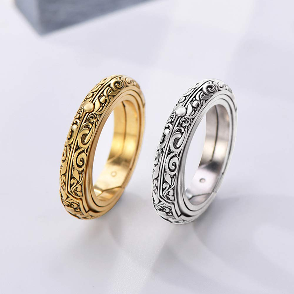 XIANGMENG Astronomical Finger Foldable Ring That Folds Out to an Astronomical Sphere Ring Luxury Hand-Carved,925 Silver All Size Provided Close is Love,Open is The World,Best Gift for Lover