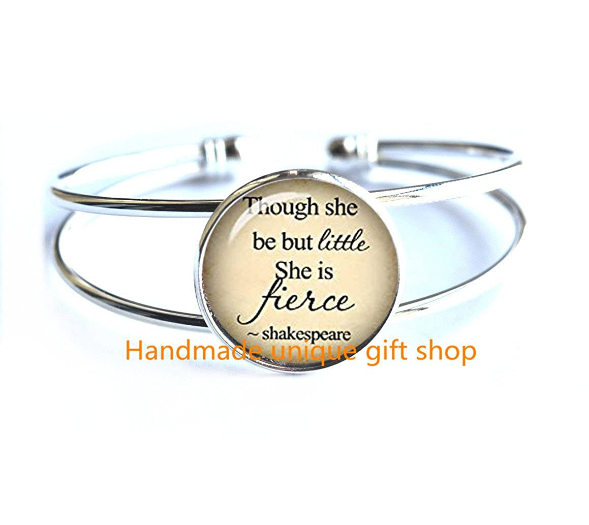 Modern Fashion Bracelet,Beautiful Bracelet Book geek gift Quote though she be but little she is fierce inspirational quote teacher gift book lover gift quote jewelry woman-RC252