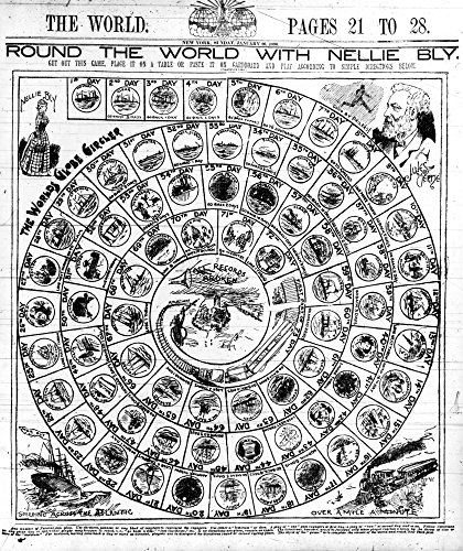 Board Game Nellie Bly Nboard Game About Journalist Nellie BlyS Trip Around The World In 1889-90 With Squares For Each Of The 73 Days Of Her Journey With Images Of Bly Jules Verne A Steamship And A Tra (Around The World With Nellie Bly Game)