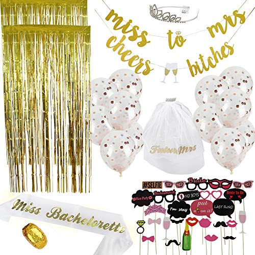 Bachelorette Party Decorations Kit 50 Piece | Bridal Shower Supplies | Photo Props & Backdrop Set - Gold Banners, Gold Photo Backdrops, Confetti Balloons, Photo Props, Sash, Tiara, Veil, Ribbon