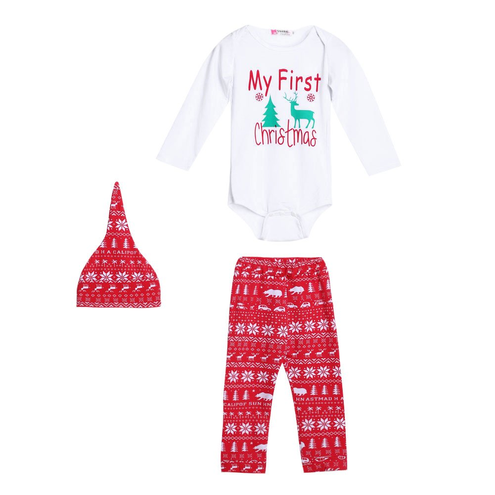 Diamondo Cute Newborn Baby Boy Girls First Christmas Clothes Romper Pants Hat Outfit(for 12-18M) (for 3-6M)