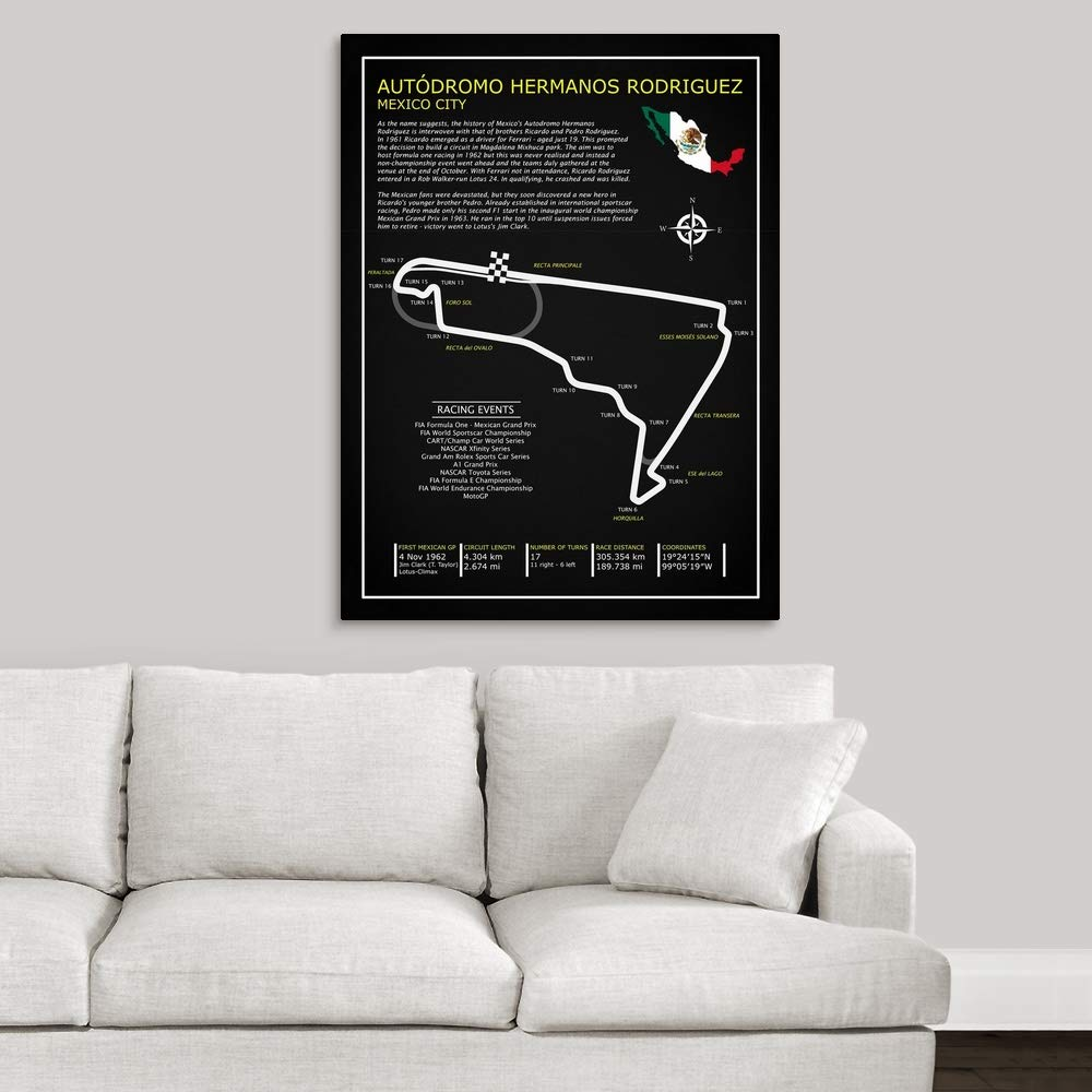 Amazon.com: Autodromo Hermanos Rodriguez BL Canvas Wall Art ...