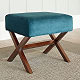 Upholstered Ottoman with Wood Legs in Blue