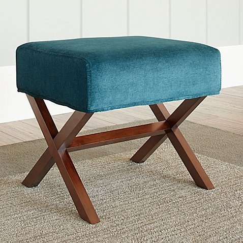 Upholstered Ottoman with Wood Legs in Blue by Chatham House