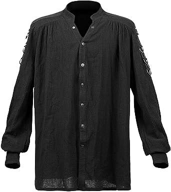 Camisa Negra con botones gótica Punk MEDIÉVAL Punk Rave y-464 negro Hombre M: Amazon.es: Ropa y accesorios