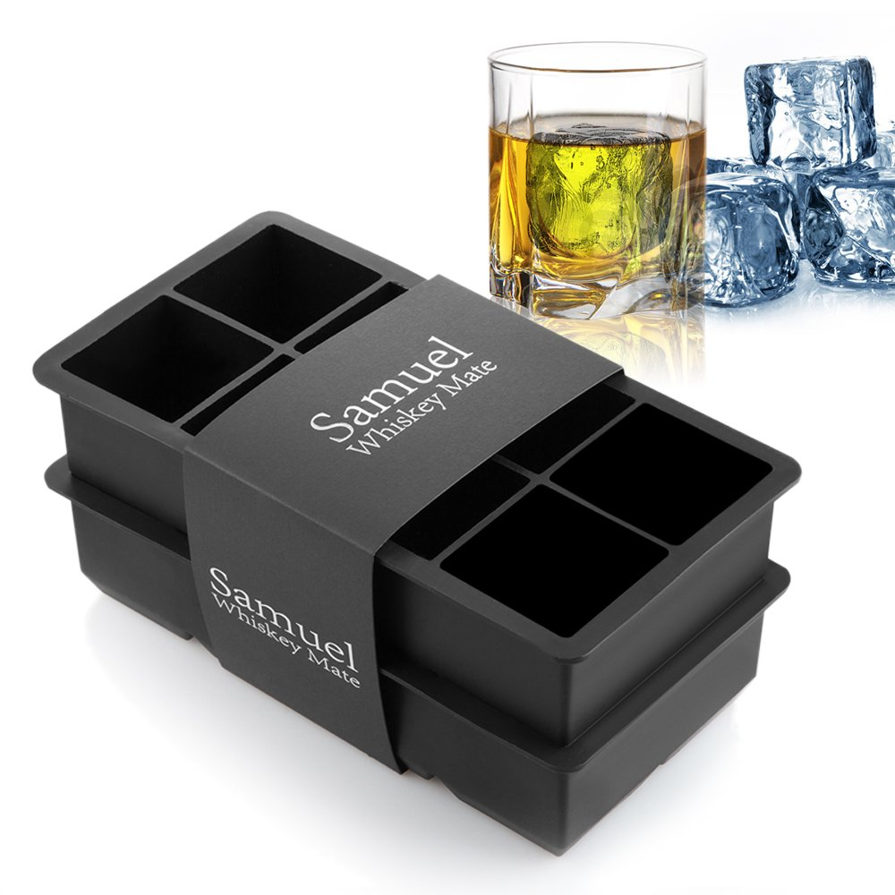 Samuelworld Ice Cube Tray Large Size Silicone Flexible 8 Cavity Ice Maker for Whiskey and Cocktails, Keep Drinks Chilled (2pc/Pack) by Samuelworld