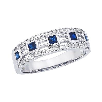 Amazon Com 0 53 Carat Ctw 14k Gold Square Blue Sapphire Diamond