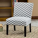 Grey Accent Chair Roundhill Furniture Botticelli Grey Wave Print Fabric Armless Contemporary Accent Chair, Single
