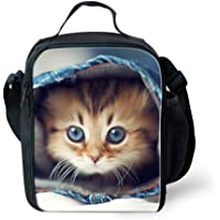 Nopersonality Cute Insulated Printing Animal Dog Cat Lunch Bag with Water Bottle Pocket