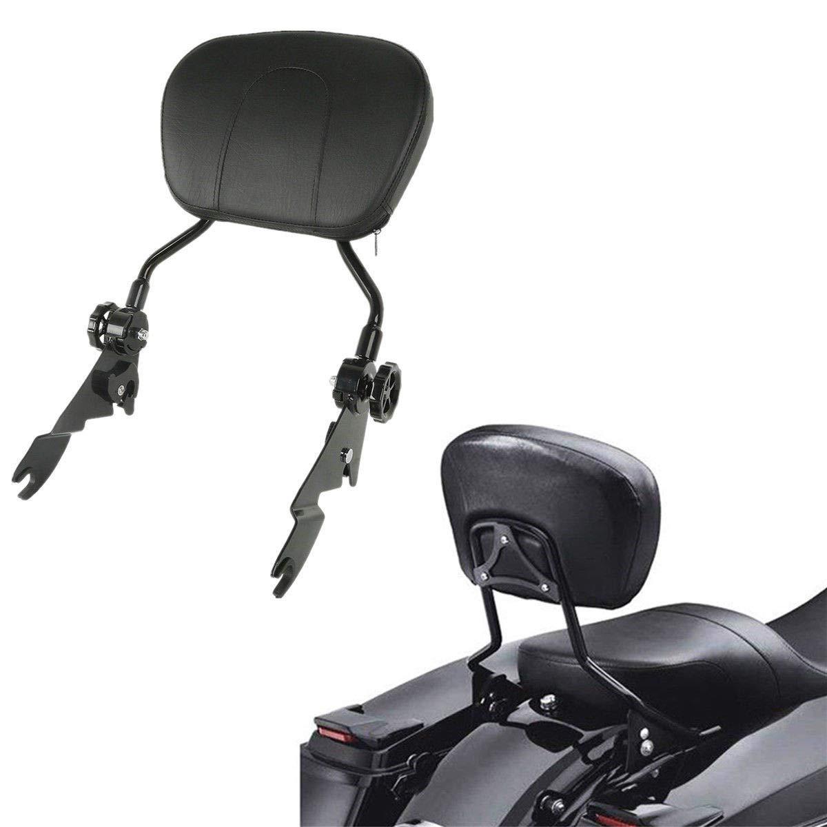 TCMT Adjustable Sissy Bar Passenger Backrest W/Pad Fits For Harley Touring Models 2009 2010 2011 2012 2013 2014 2015 2016 2017 2018 (Black)