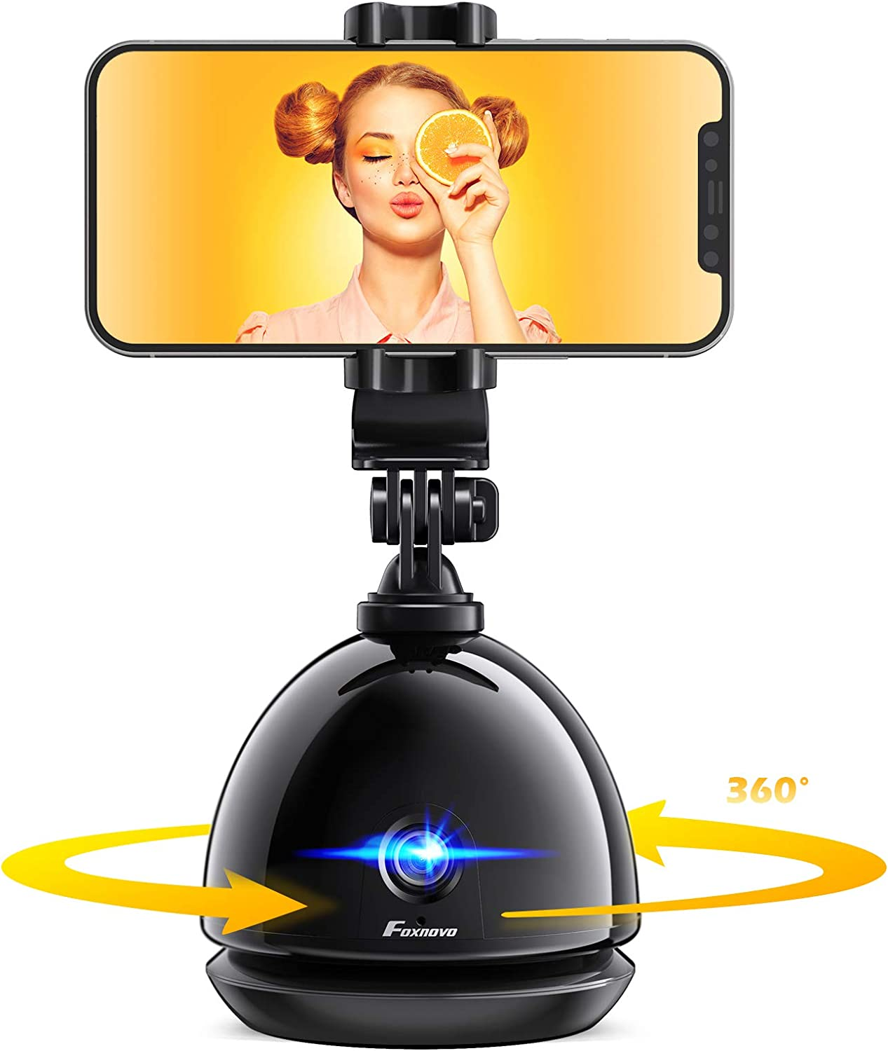 【NO APP】 Foxnovo 360/°Rotation Auto Face Tracker Stabilizer Cell Phone Holder Phone Smart Tracking Selfie Tripod Podcasting|Vlogging|Video Camera Stick Mount for iPhone//Android Phone