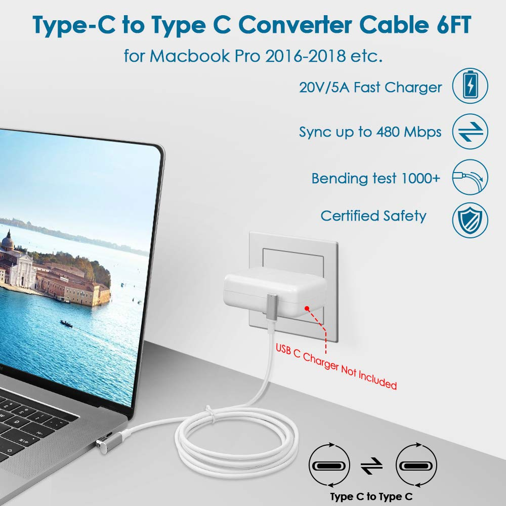 Knaive 9Pins USB Type-C Magnetic to USB C Magnetic Cable Connector 6.5FT PD 100W Fast Charge 480Mbps Compatible with MacBook Pro Air /& USB C Laptop Tablet