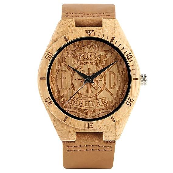 Reloj de Madera con Grabado de Bombero, Esfera de bambú, Reloj de Cuarzo, Pulsera de bambú para Hombre Deportivo de Piel auténtica: Amazon.es: Relojes