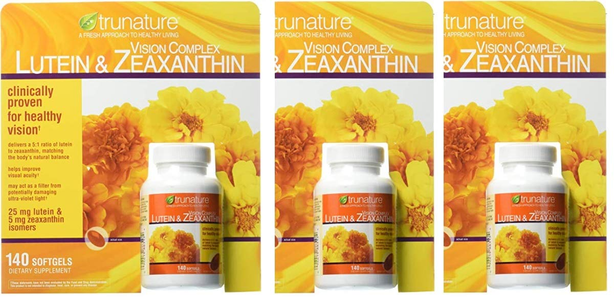 Trunature Vision Complex Lutein and Zeaxanthin pos3re 3Pack (140 Count Each )