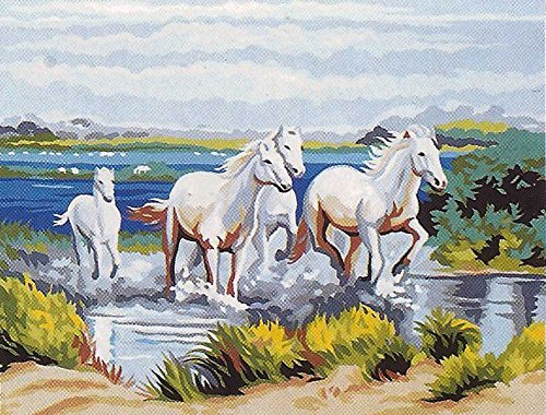 GALLOPING WHITE HORSES NEEDLEPOINT CANVAS FROM ROYAL PARIS #142.108, 19 1/2