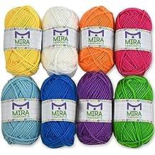 Mira Handcrafts 8 Acrylic Yarn Bonbons | Total of 525 yards Craft Yarn | Includes 2 Crochet Hooks, 2 Weaving Needles, 7 E-books | DK Yarn for Knitting and Crochet | Perfect Beginner Kit
