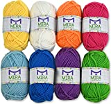 Mira Handcrafts 8 Acrylic Yarn Bonbons | Total of 525 yards Craft Yarn | Includes 2 Crochet Hooks, 2 Weaving Needles, 7 E-books | DK Yarn for Knitting and Crochet | Perfect Beginner Kit