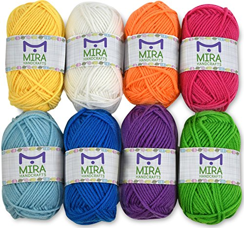 Mira Handcrafts 8 Acrylic Yarn Bonbons | Total of 525 yards Craft Yarn | Includes 2 Crochet Hooks, 2 Weaving Needles, 7 E-books | DK Yarn for Knitting and Crochet - Free Yarn Knitting Patterns Chunky