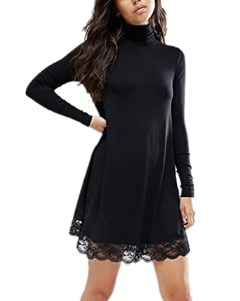 54fcf4531870 Auxo Women Sexy Lace Splice Turtle Neck Long Sleeve Autumn Casual Tunic  Tops Swing Mini Dress Black M  Amazon.co.uk  Clothing