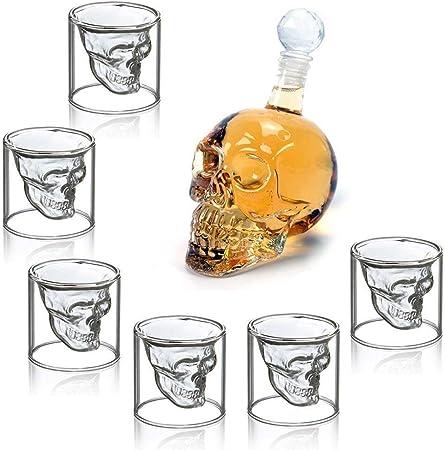 Crystal Skull Head Vodka Shot Whiskey Vin Verre à boire bouteille carafe tasse