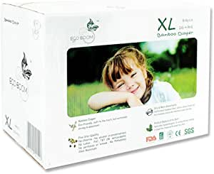 ECO BOOM Baby Bamboo Biodegradable Diapers Infant Nature Disposable Diapers Eco Friendly Nappies for Babies 108 Count-Pack Size 2 Diapers(6-16lb