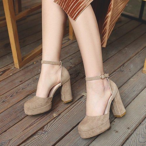 De Cabeza Hueco Taiwán Chica Redonda Ranurada Impermeable High Satén Eu40 Correa SHOESHAOGE Zapatos con Grueso Sandalias Espesor EU36 Heeled ZBBqYPw