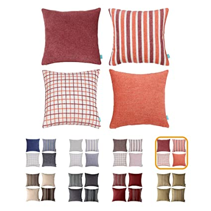 Swell Home Plus Plaid Polyester Linen Decorative Pillow Covers Striped Throw Pillows Covers Gray Navy Blue Couch Pillowcase Cushion Cover 18X18 Throw Pillow Gmtry Best Dining Table And Chair Ideas Images Gmtryco