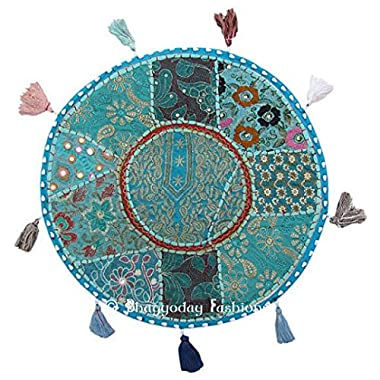 Rajasthali 32-Inch Bohemian Patchwork Round Floor Cushion Cover