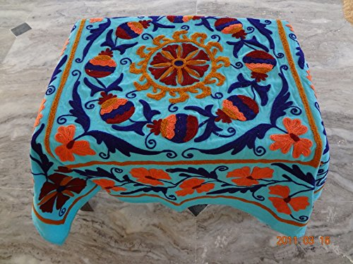 44' Dining Table (Handicraftofpinkcity Suzani Embroidered Table Cover 44x44'' Size Table Runner Dining Table Cover Ssth01)