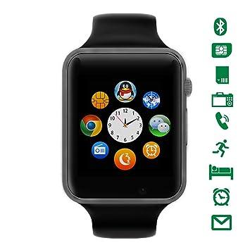 Bluetooth Smartwatch [Correa Suave], LATEC Reloj de Pulsera Deportivo con Pantalla táctil. smartwatch soporta Tarjetas SIM/Tarjetas TF (Micro SD), ...
