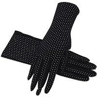 Guantes de protección Solar Guantes de Sol de Punto de Onda Corta de algodón para Mujer, Negro