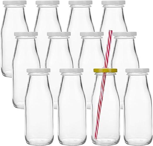Vintage//Wedding//Children/'s Parties 30 X Plastic Mini Milk Bottles with Straws