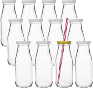 Kingrol 12 Pack Glass Milk Bottles, 11 oz Vintage Drinking Jar Bottles, Reusable Dairy Bottles with 12 Straws, 12 White Metal Lids & 12 Yellow Lids with Hole