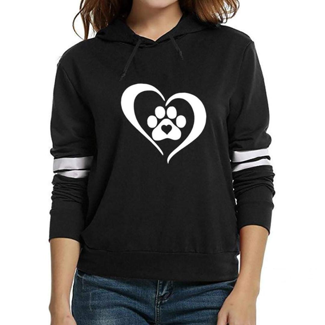 Balakie Womens Heart Print Long Sleeve Hooded Casual Pullover Drawstring Blouse (L, Black)