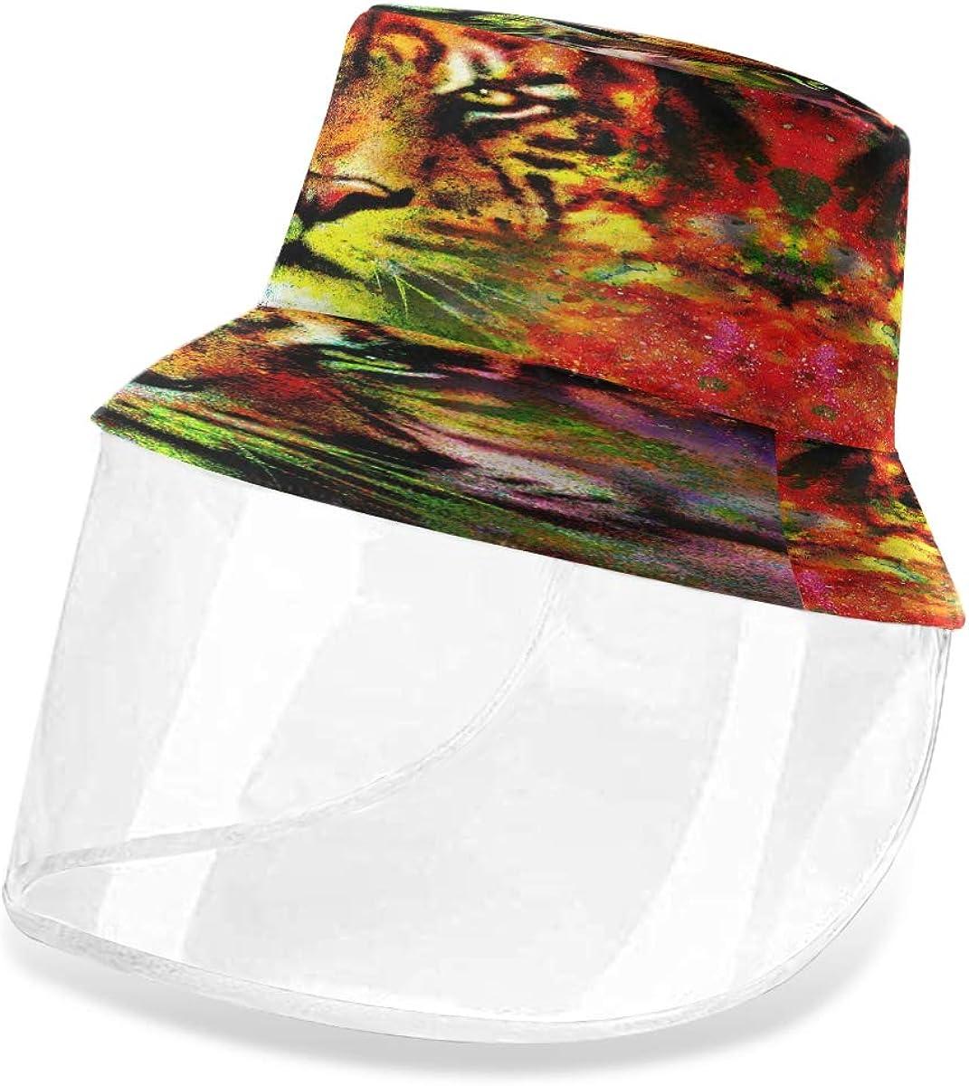 ALARGE - Gorro de pescador con diseño de tigre abstracto colorido, antipolvo, sol, UV, con máscara de protección facial extraíble, para hombres y mujeres al aire libre