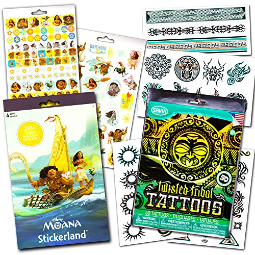 Disney Moana Stickers and Tattoos Set - Over 290 Stickers and 50 Assorted Temporary Tattoos with Licensed GWW Stickers (Moana Party Supplies)