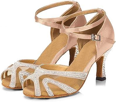 TTdancewear Women Rhinestone Ballroom Dance Shoes Latin Salsa Performance Dance Shoes