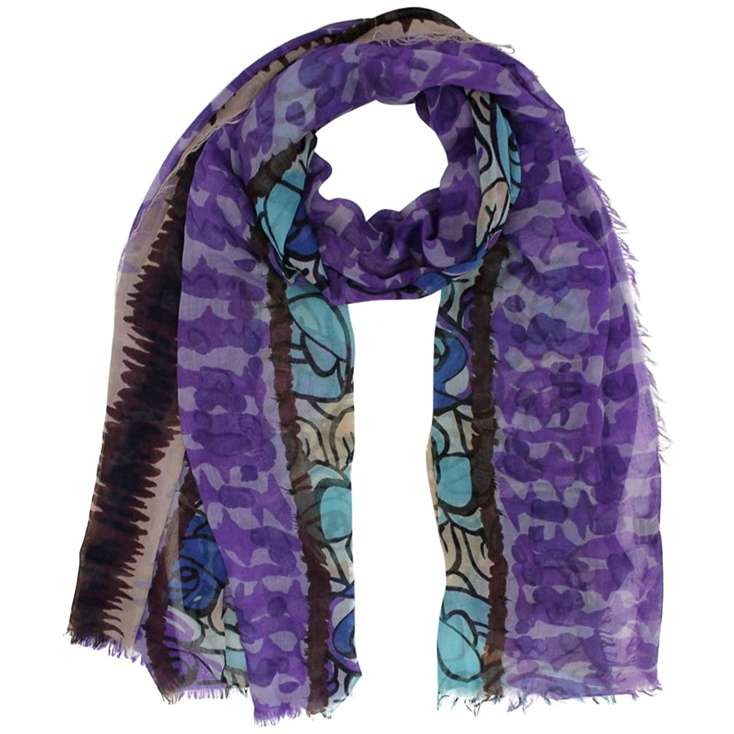 Luxury Divas Sheer Multicolor Rose Print Scarf