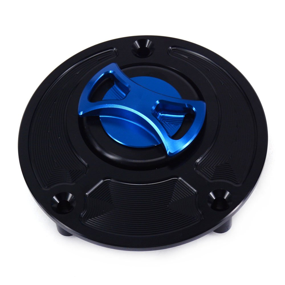 JFG RACING Blue Black CNC Aluminum Billet Keyless Twist off Gas Fuel Tank Cap Cover For Yamaha FZ1 FZ6 FZR750 FZR1000 R1 R6 YSR50 YZF600 YZF1000 by JFG RACING (Image #1)