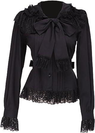 an*tai*na* Negra Algodón Volantes Encaje Bow Tie Retro Gotica Lolita Camisa Blusa de Mujer: Amazon.es: Ropa y accesorios