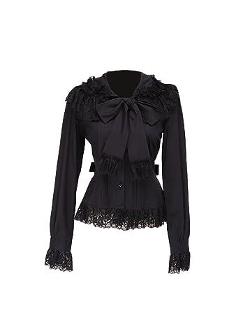 435a7db7ad323f Antaina Black Cotton Ruffle Lace Bow Tie Retro Gothic Lolita Shirt Blouse,XS