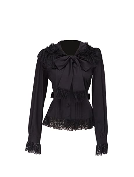 Negra Algodón Volantes Encaje Bow Tie Retro Gotica Lolita Camisa Blusa de Mujer,XS