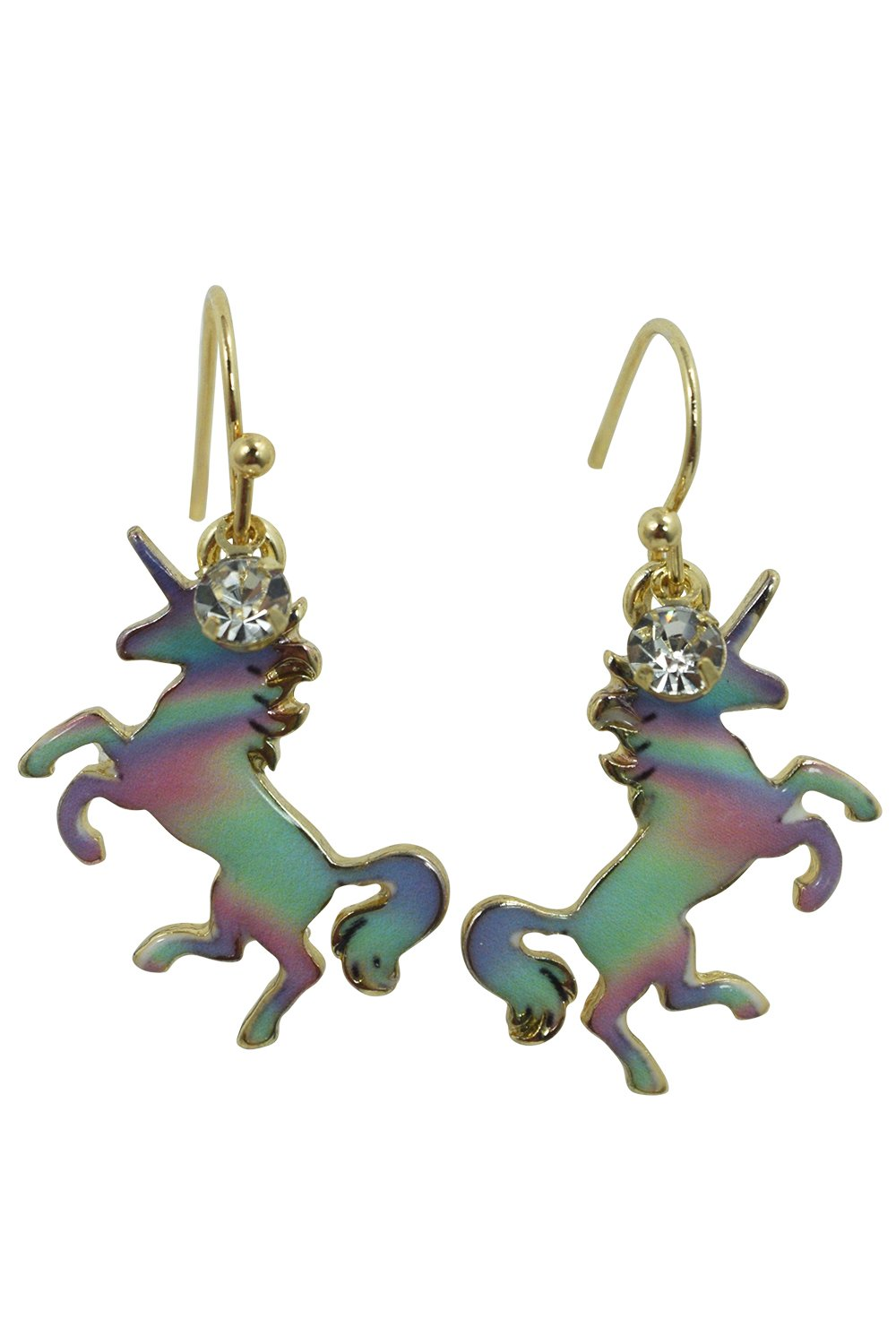 Skelapparel Mystic Unicorn Iridescent Rainbow Unicorn Earrings 3