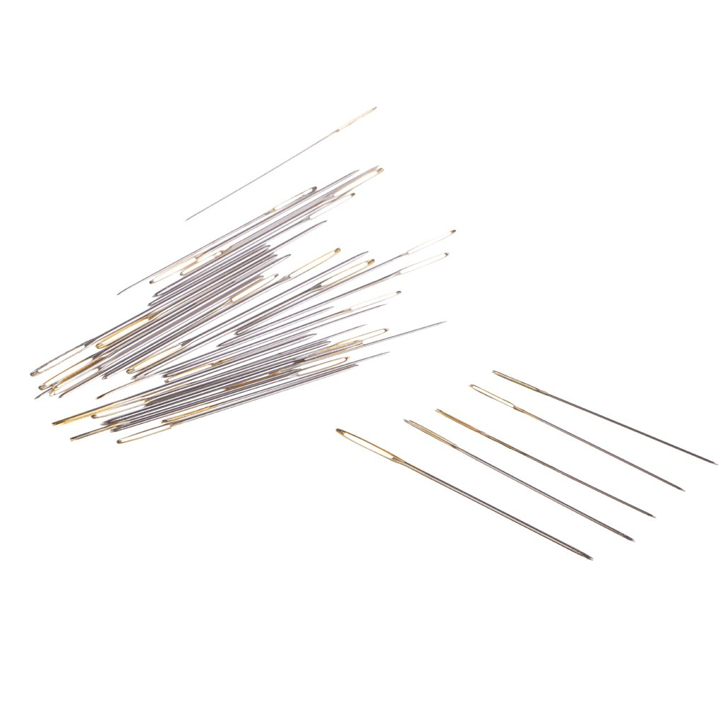 Baoblaze 30 Pieces Wool Needles Large Eye For Threading Darning Sewing Tapestry Embroidery - Gold, Size 22