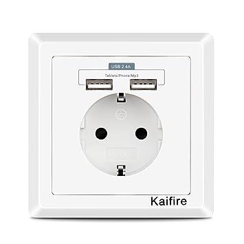 Kaifire USB Enchufe Pared 2.4A Schuko Toma de Corriente Estándar ...