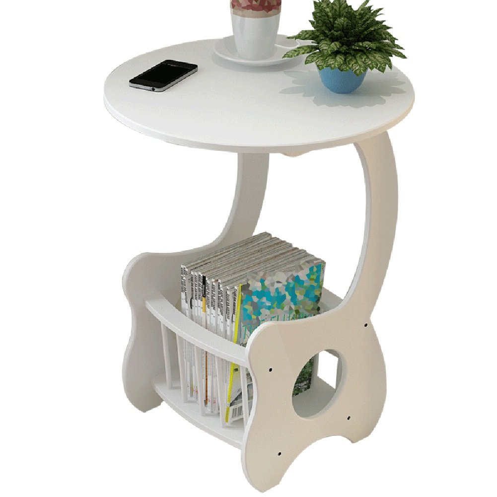 Tingting Side Table Desk End Table Bedside Small Round Table Hollow Storage Shelf Bookshelf White 48  60cm