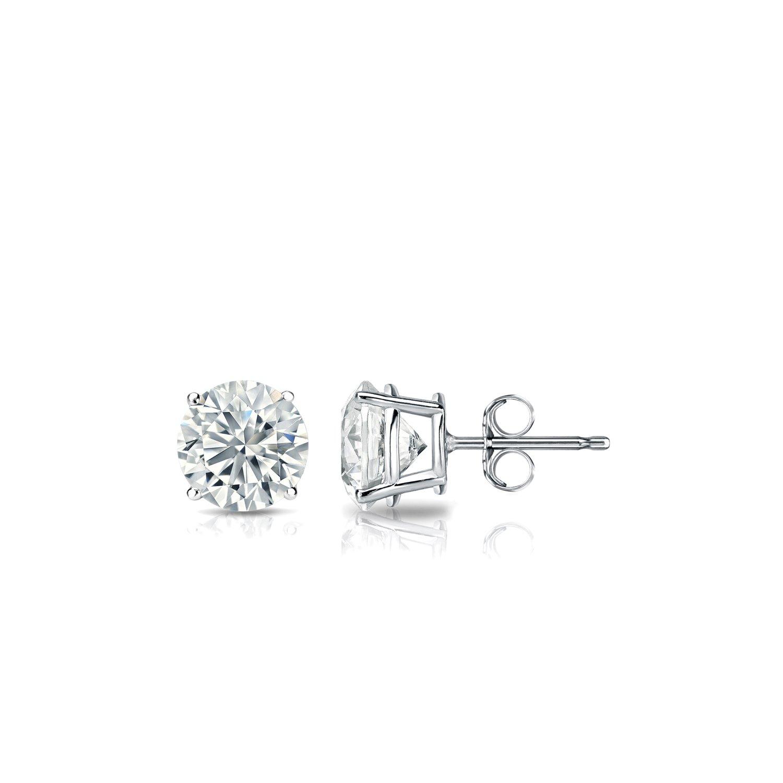 Amazon 14k White Gold Round Diamond Stud Earrings 4 Prong 0 40
