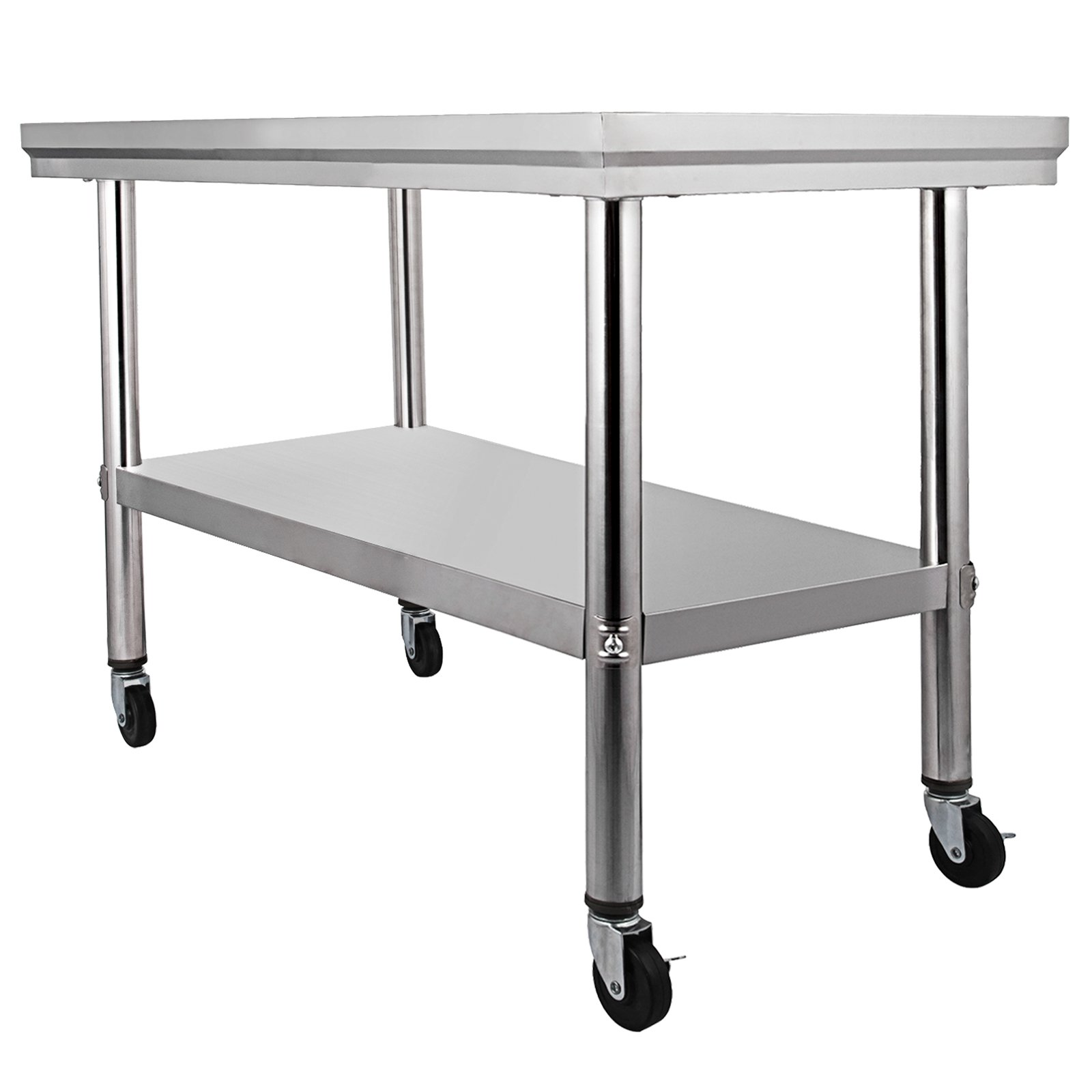 Mophorn NSF stainless Steel work table with wheels 36x24 Prep table with casters Heavy duty work table for commercial kitchen Restaurant Business Garage (36''x24'')