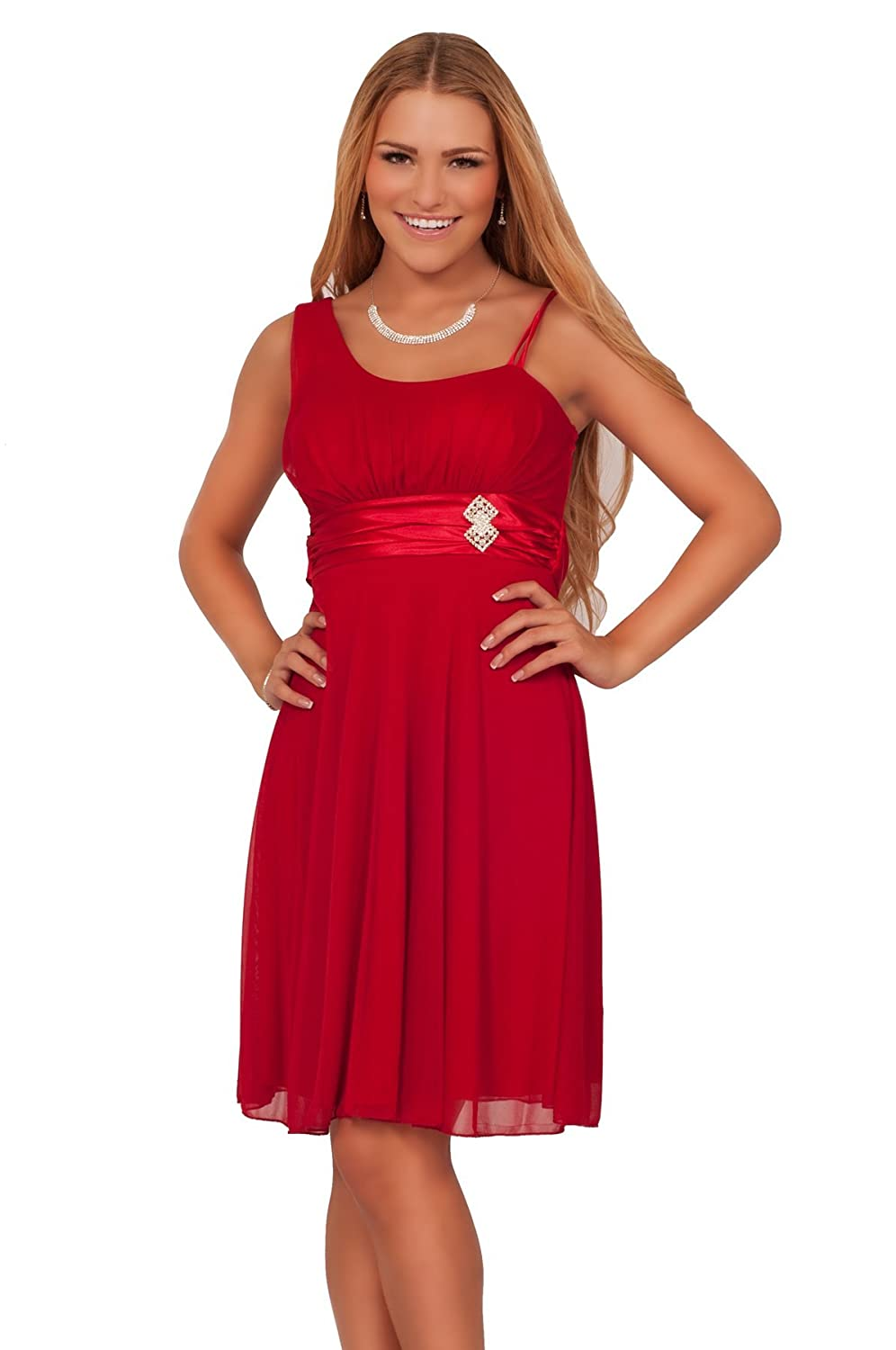 Strapped Junior Empire Waist Knee High Homecoming Bridesmaid Prom Formal Dress
